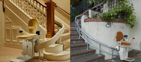 Indoor and Outdoor Curved Stairlifts by Handi-Lift Residential Stairlifts in North Carolina